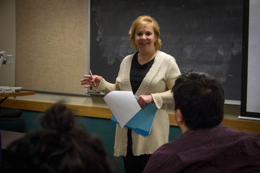 Mary Beth O'Connor, associate professor of Communication, teaches scriptwriting class.