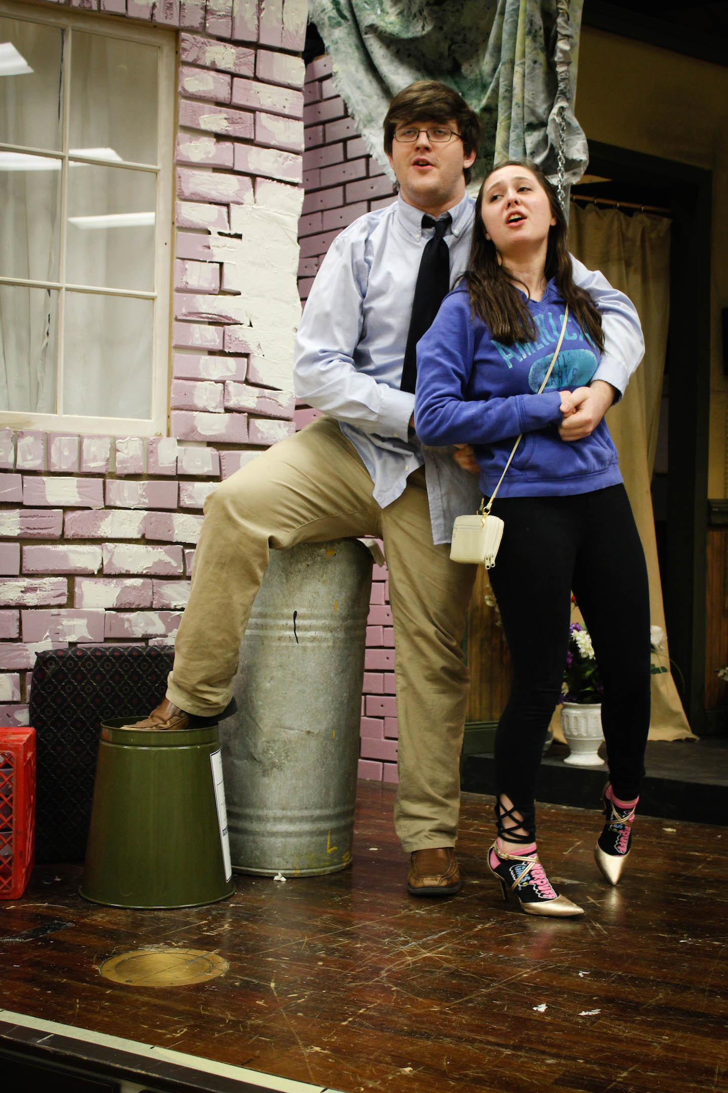 "Travis Ziegler and Laura Riggle, rehearse for ""Little Shop of Horrors,"" opening April 22."