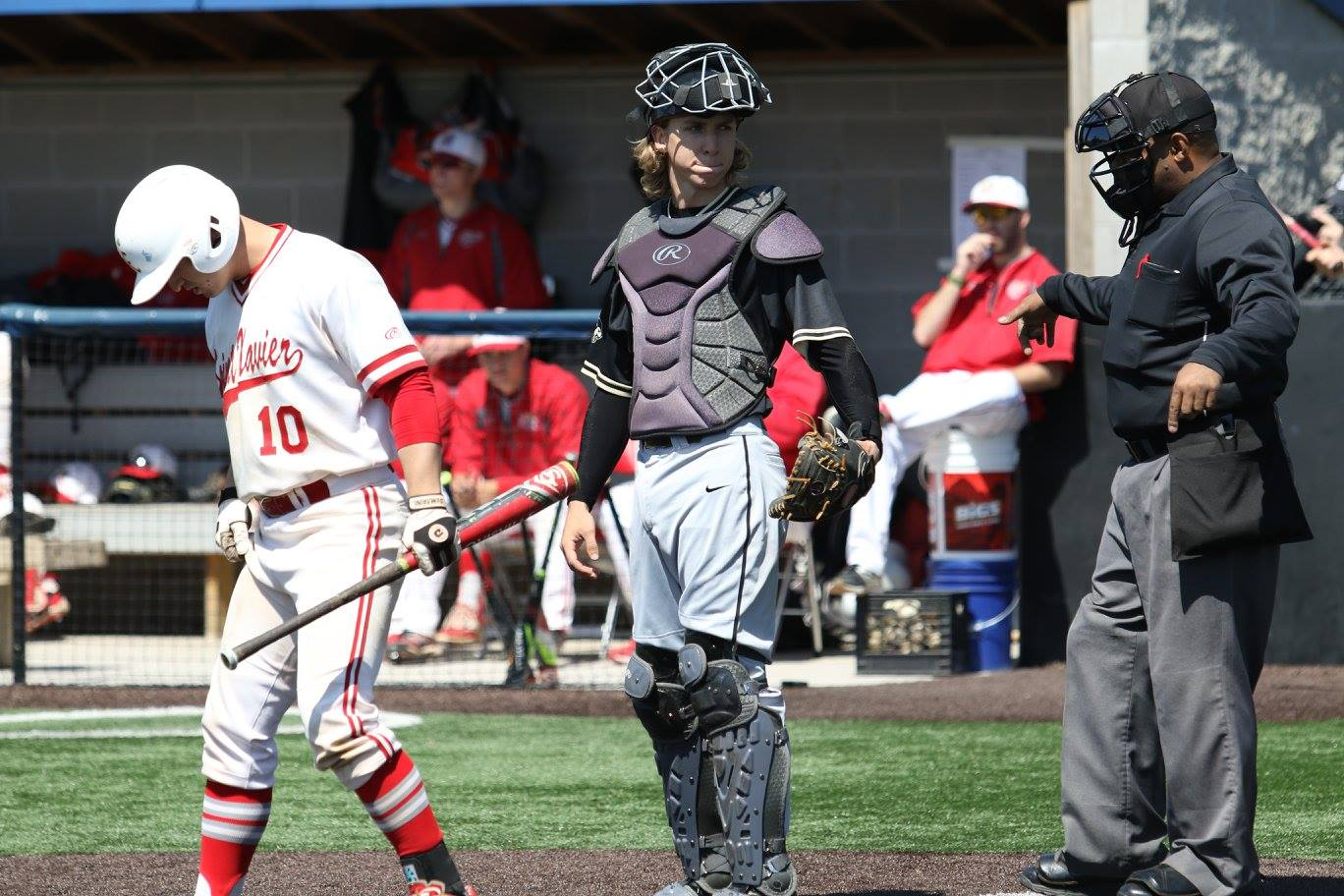 Hunter Thorn (center), catcher, will begin his second season on the PNW baseball team in March.