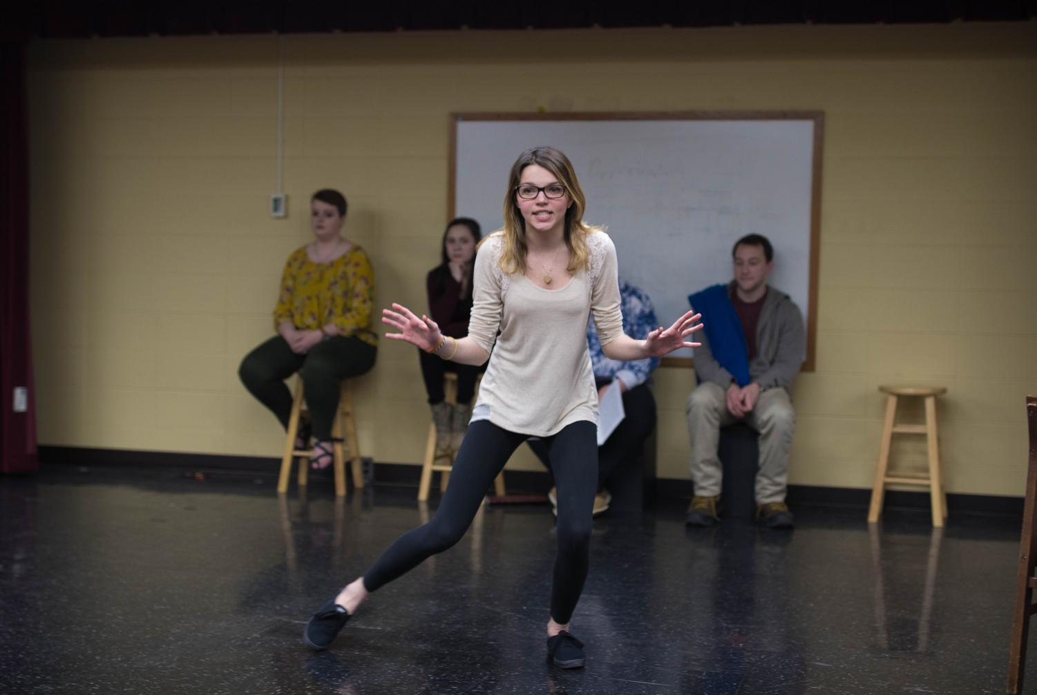 "Members of the cast rehearse for ""You're a Good Man, Charlie Brown,"" which opens on April 20 in Alumni Hall."