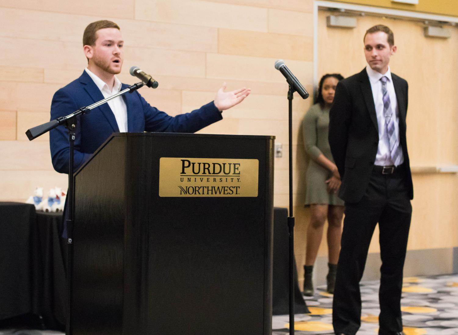 Riley Owens, SGA president-elect, and Dustin Thibideau, vice president-elect, speak to student organizations about their plans for the 2018-19 academic year.