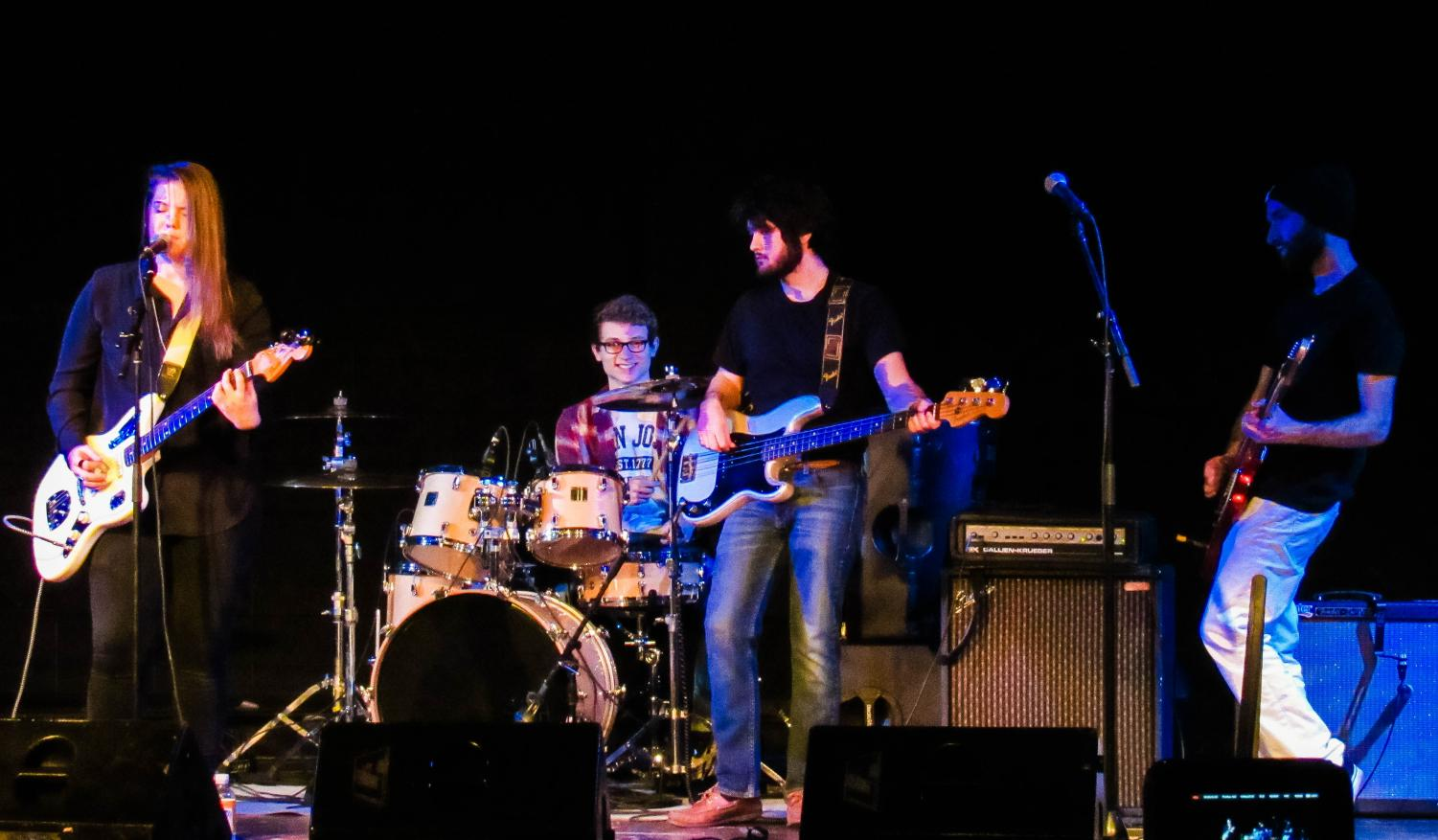 Four bands competed in the second annual ShamROCK It Out Battle of the Bands on March 21 in Alumni Hall. WAVES, pictured above, won first place. The band Leap First came in second, Solor came in third and Lucid Animals also competed.