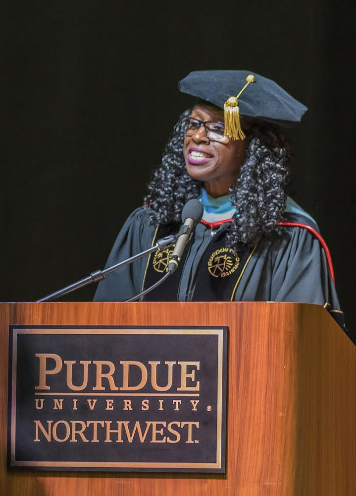 Regina Biddings-Muro, former vice chancellor for Institutional Advancement, speaks at the Spring 2018 graduation ceremony.
