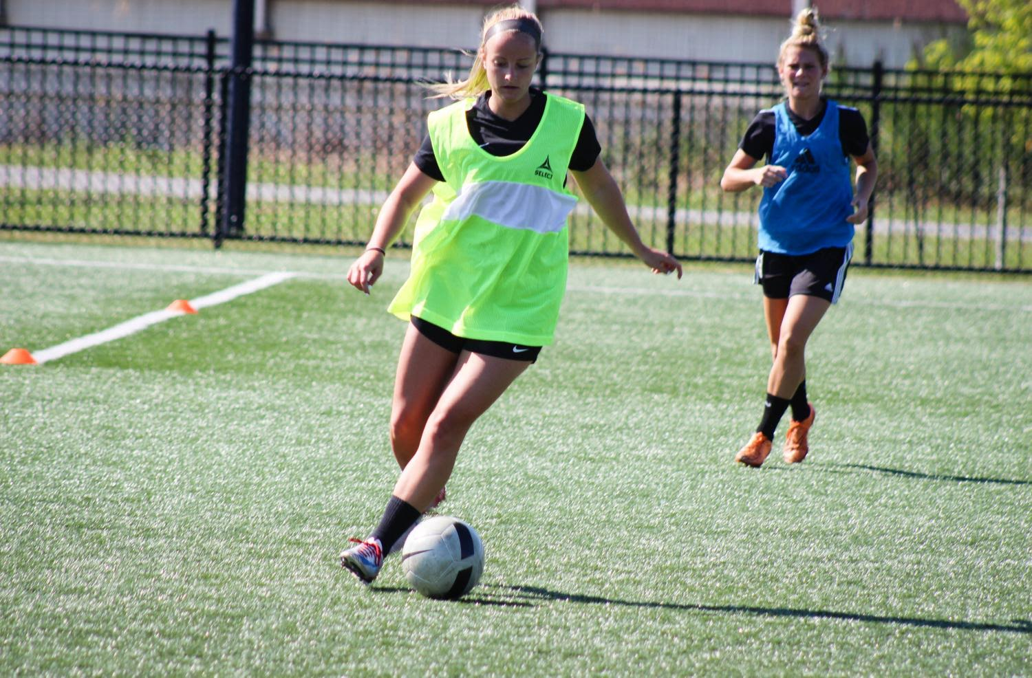 Marisa Jayne, defender, practices for the upcoming season.