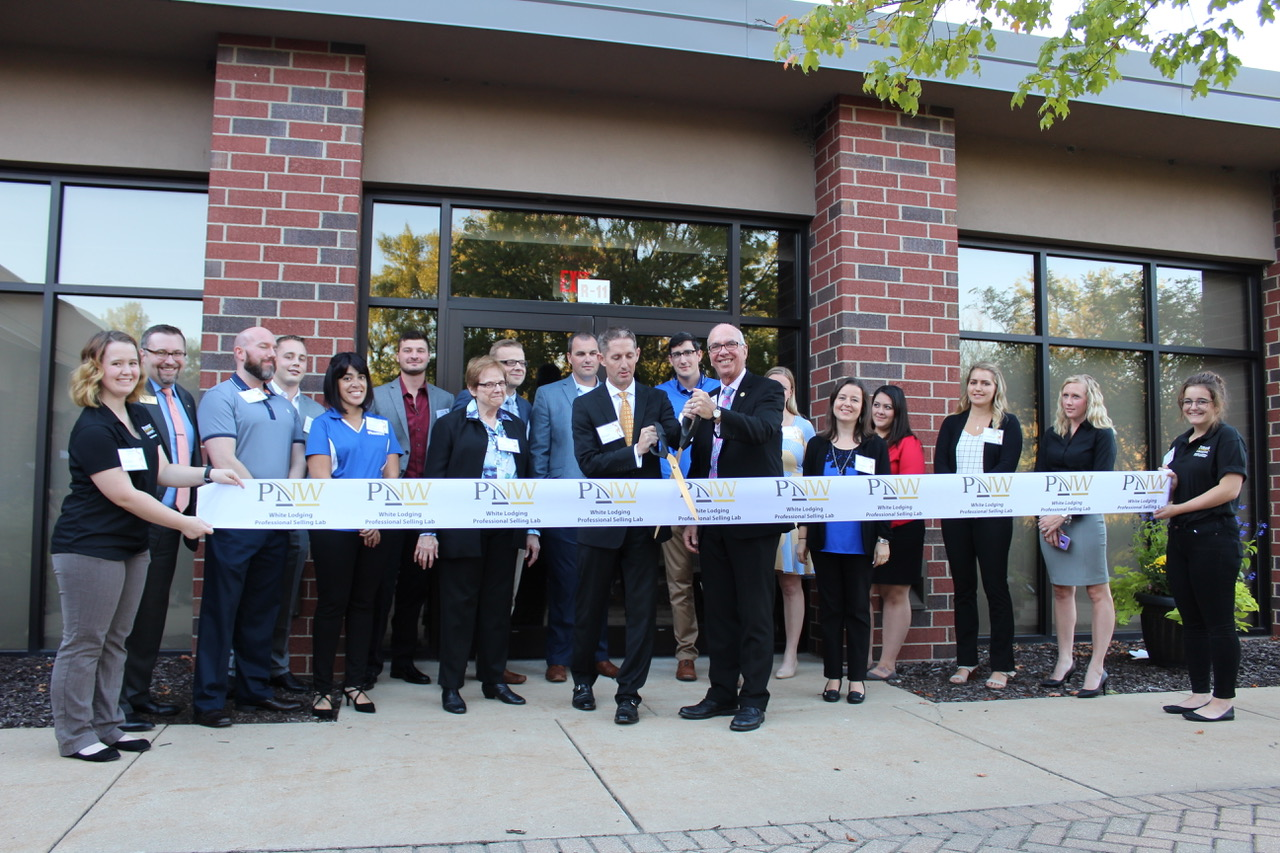 The ribbon-cutting ceremony for the Whiting Lodging Professional Sales Lab was Sept. 16.