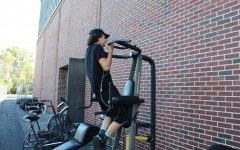 Students utilize outdoor workout area
