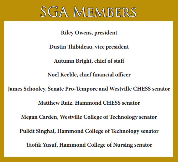 SGA administration list goals