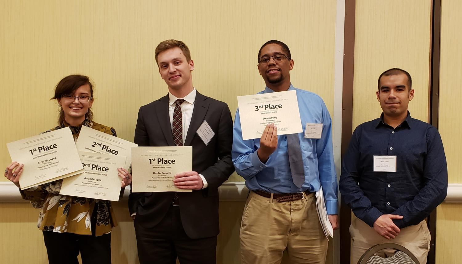Five of The Pioneer staff members won awards at the Indiana Collegiate Press Association competition on March 30.