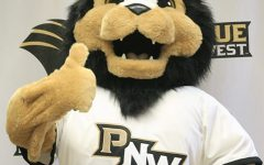 Leo the Lion is PNW's current mascot. In 2016 both campuses combined and became The Pride, leading to the creation of Leo the Lion who represents both Hammond and Westville locations.